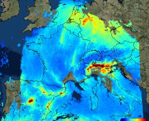Sentinel 5p Nitrogen Dioxide over Europe